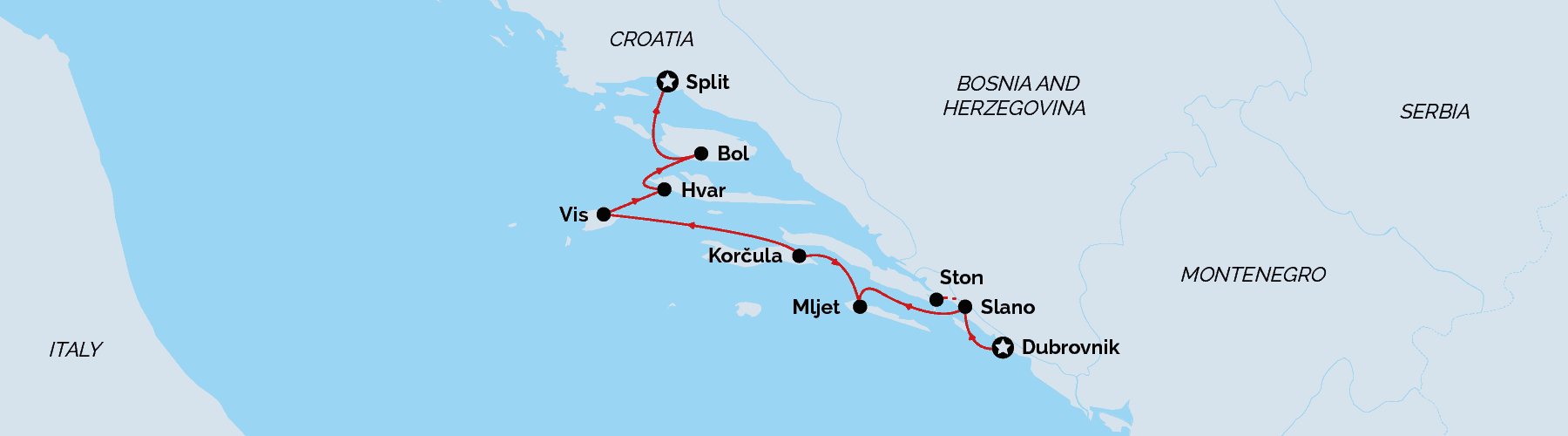 Cruise map - Dubrovnik to Split, Croatia