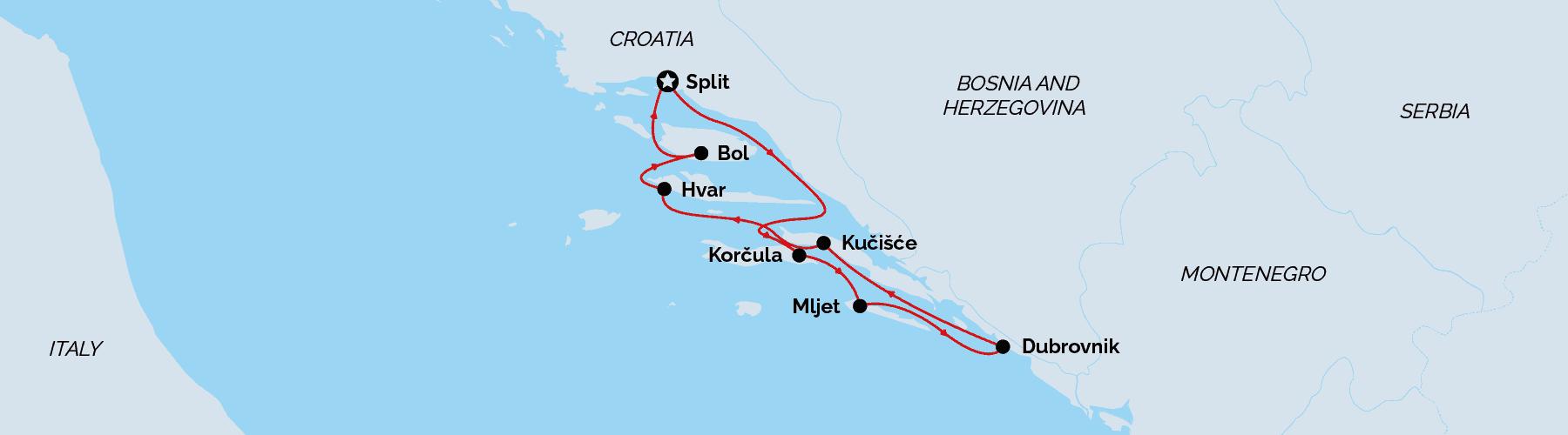 Deluxe Split return cruise map, Croatia