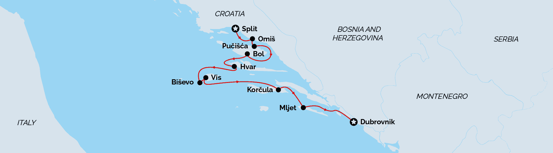 superior cruise, Split to Dubrovnik route map