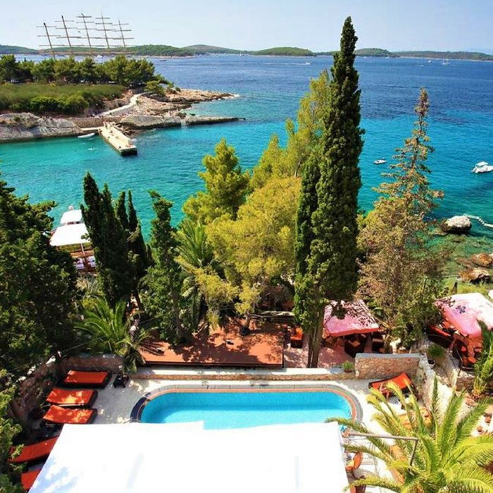 Hotel Podstine, Hvar outdoor pool with a sea view and lounge