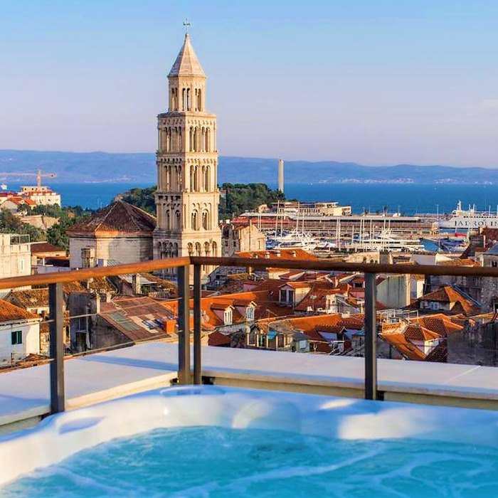 Hotel Cornaro, Split rooftop view of st, duje cathedral bell
