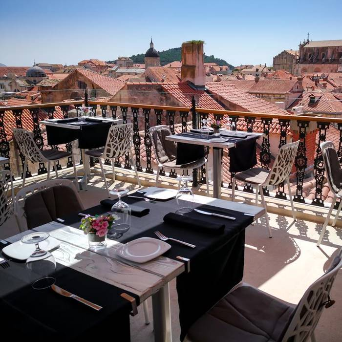 Prijeko Palace, Dubrovnik outdoor dining area with old roof views