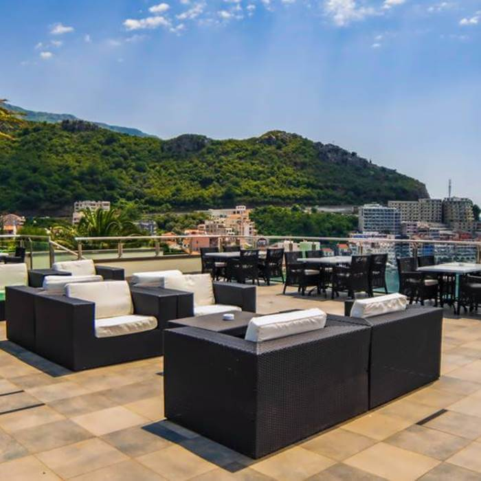 Hotel Queen of Montenegro, Becici rooftop cafe and lounge with hotel view