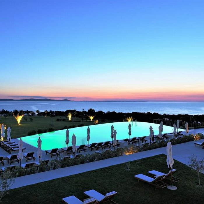 Falkensteiner Hotel &Spa ladera, Zadar outdoor pool at night from hotel view
