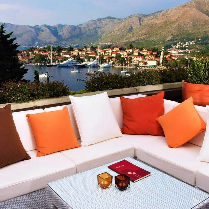 Hotel Croatia, Cavtat outdoor sofa lounge area with sea view
