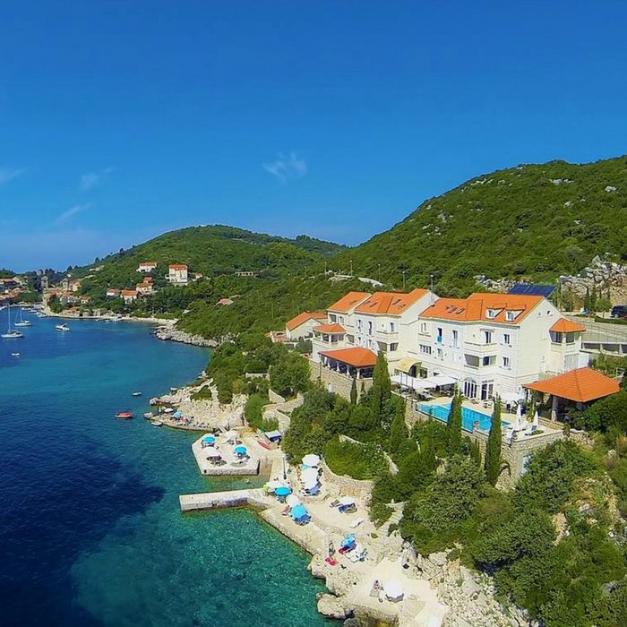 Hotel Bozica, Sipan island, full sea view aerial photo