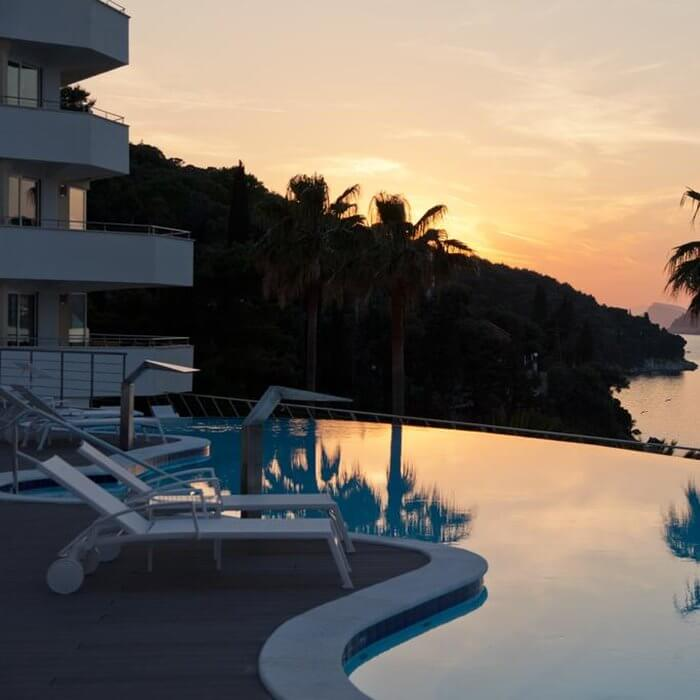 Lafodia Sea resort, Lopud outdoor pool at sunset