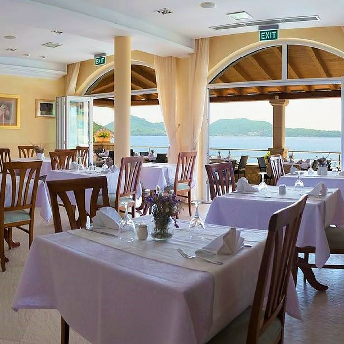 Hotel Bozica, Sipan island indoor dining facilities with sea view