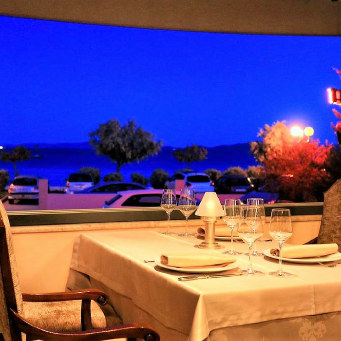 Hotel Niko, Zadar outdoor dining facilitates with a beautiful view of Adriatic sea