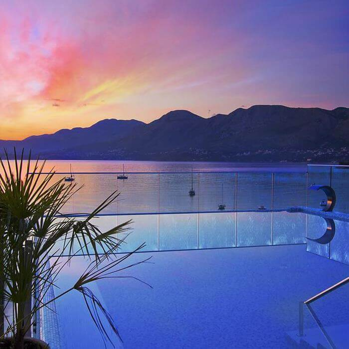 Hote Cavtat, Cavtat outdoor pool at sunset