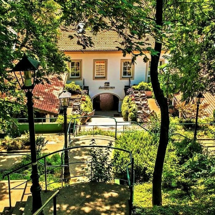 Hotel Jagerhorn, Zagreb hotel entrance and a secluded nature around it