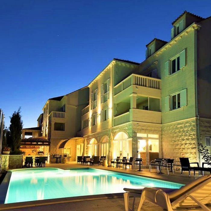 Hotel Bozica, Sipan island pool side view at night