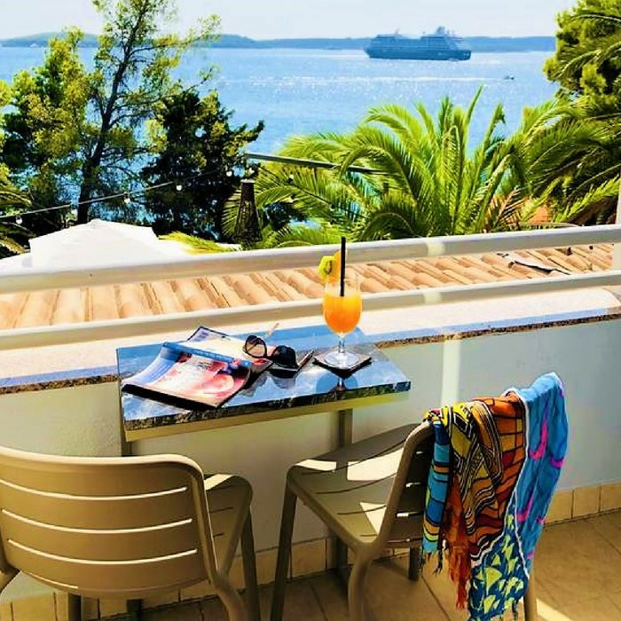 Hotel Podstine, Hvar balcony coffee table with a sea view