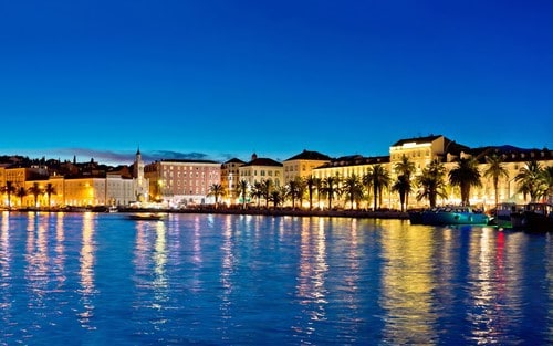 Split waterfront at night