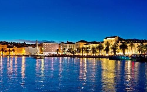 Split waterfront at night