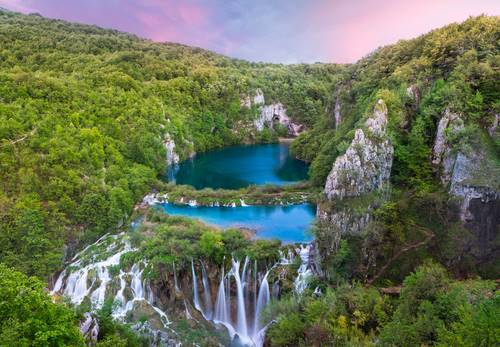 Sunset in Plitvice Lakes- National park