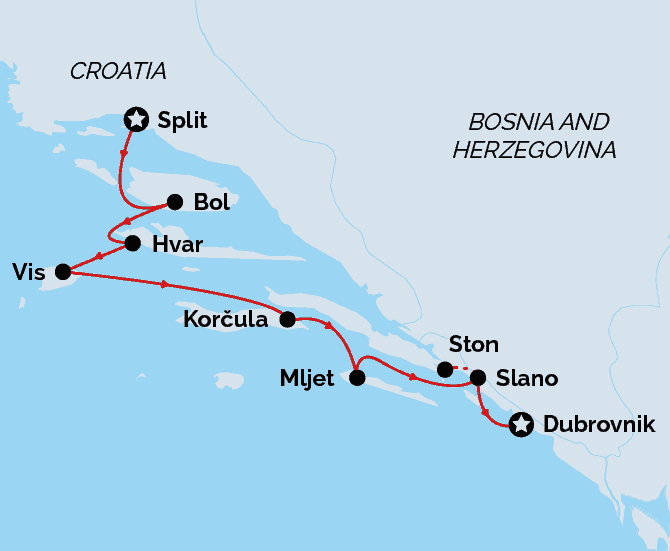Split to Dubrovnik Map, Deluxe Cruise