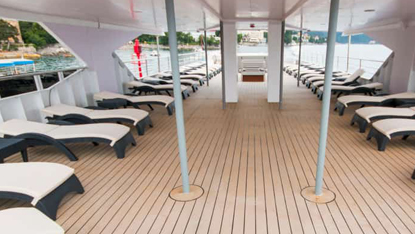 MV Infinity upperdeck sunbeds, Unforgettable Croatia