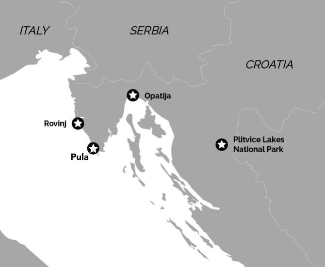 Pula, Rovinj, Opatija, Plitvice Map