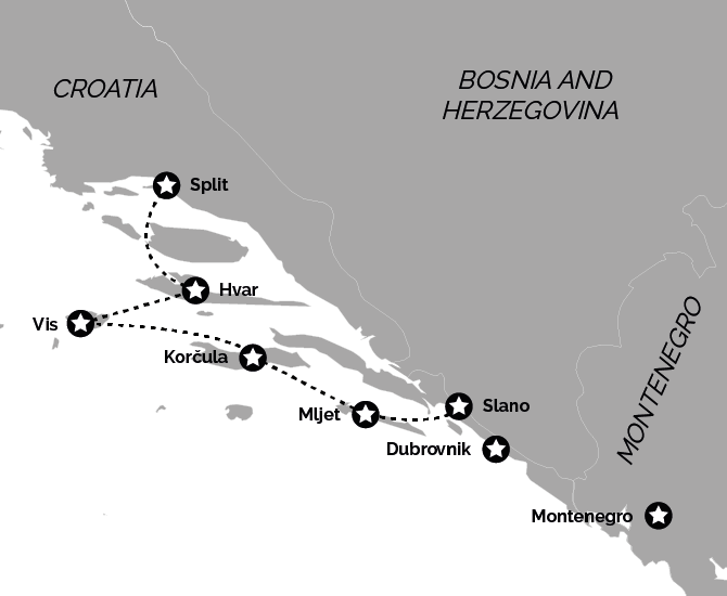 Croatia and Montenegro Deluxe Cruise Stay Package Map