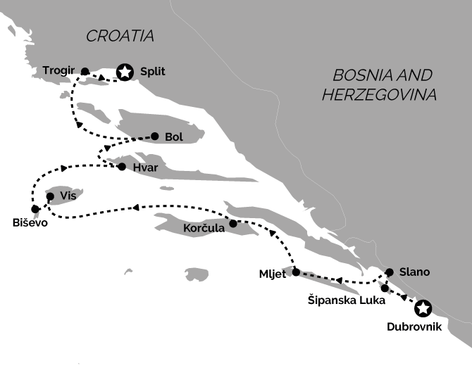 Route Map Deluxe Dubrovnik to Split Croatia Cruise