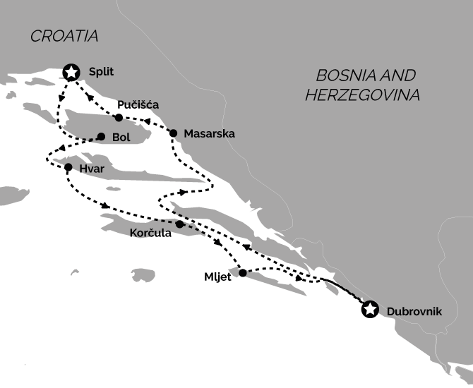 Route Map Deluxe Split Return Croatia Cruise