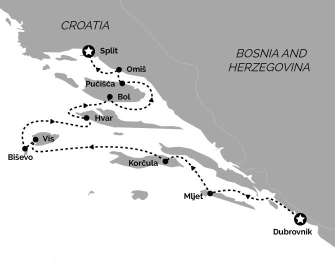 Superior Dubrovnik to Split Croatia Cruise