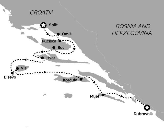 Route Map Superior Split to Dubrovnik Croatia Cruise