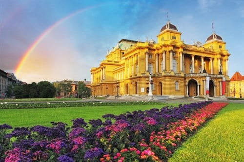 Zagreb with rainbow