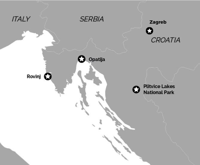 Zagreb, Opatija & Rovinj Map