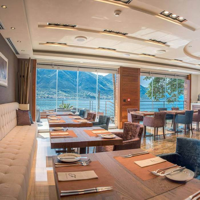 Boutique Hotel Forza Mare, Kotor indoor restaurant with sea view