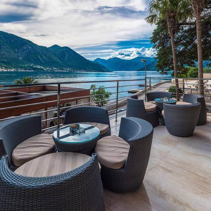 Boutique Hotel Forza Mare, Kotor outdoor lounge and cafe area with sea view