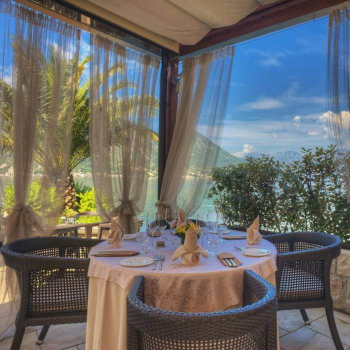 Boutique Hotel Forza Mare, Kotor outdoor shade covered dining with sea view