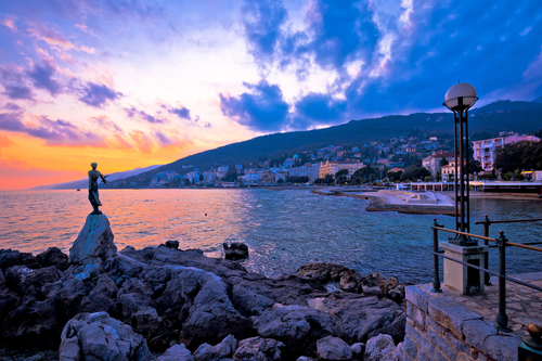 Town of Opatija waterfront sunset, Kvarner bay in Croatia