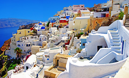 Santorini colourful streets