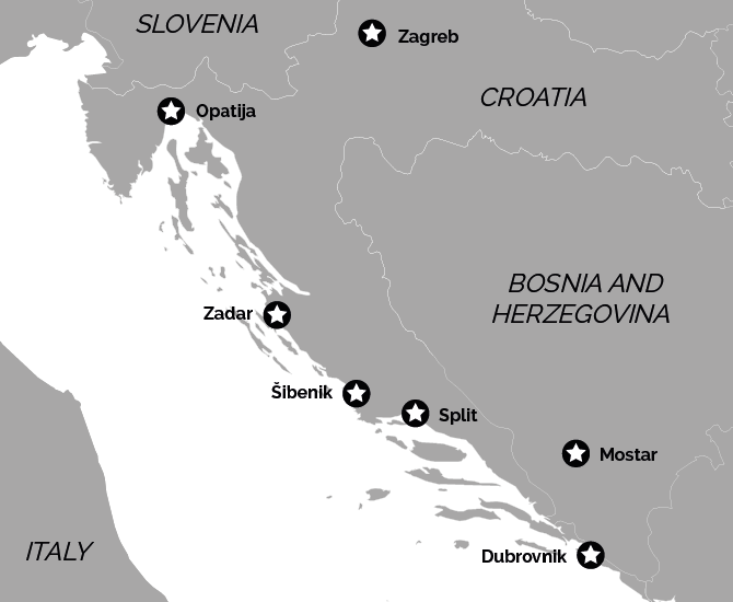 10 night Croatia Food Wine Holiday Private Tour Map